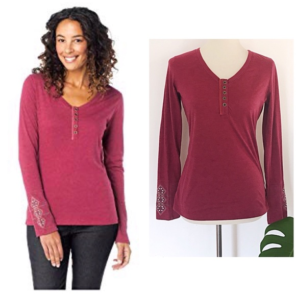 a60386bb Prana Tops | Euc Rosie Embroidered Sleeves Thermal Top M | Poshmark